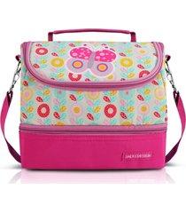 lancheira térmica com 2 compartimentos infantil borboleta jacki design pequeninos pink