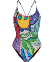 ellie rassia rainbows scoop neck printed swimsuit - blue