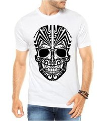 camiseta criativa urbana caveira mexicana tribal