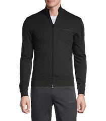armani jeans men's embroidered-logo stretch-cotton sweatshirt - black - size m
