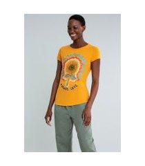 lez a lez - t-shirt estampada radiate love amarelo gen z