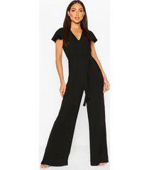 chiffon angel sleeve belted woven jumpsuit, black