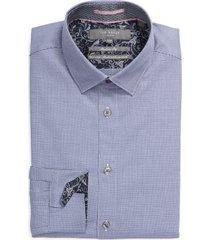 men's big & tall ted baker london cotton blend dress shirt, size 17.5 - blue