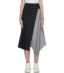 panelled asymmetric hem patch pocket plaid skirt