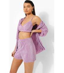 oversized plisse blouse, bralette en shorts, lilac