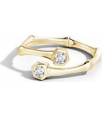 natori indochine 14k black & white diamond bamboo bypass ring, women's, size 5 fine jewelry