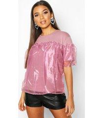 organza ruffle double layer t-shirt, rose