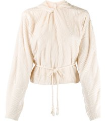 nanushka pauline twist neck belted top - neutrals