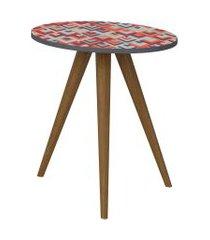 mesa lateral 500 expresso/estampa vermelha be mobiliário