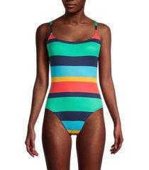 sperry women's striped one-piece swimsuit - size l