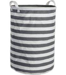 design imports polyethylene coated cotton polyester laundry hamper stripe round