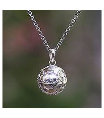 sterling silver harmony ball necklace, 'patient love' (indonesia)