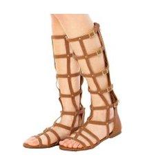 sandália via marte gladiadora alta caramelo