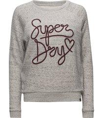 aria slim crew sweat-shirt tröja grå superdry