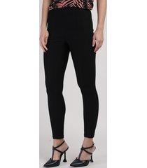 calça legging feminina básica cintura média com recorte preta