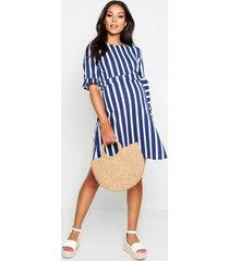 maternity stripe ruffle smock dress, navy