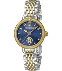 roberto cavalli by franck muller women's swiss quartz two-tone stainless steel bracelet watch, 30mm
