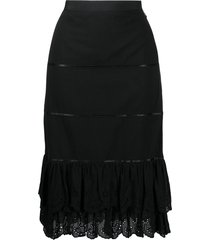 dolce & gabbana pre-owned layered over-the-knee skirt - black