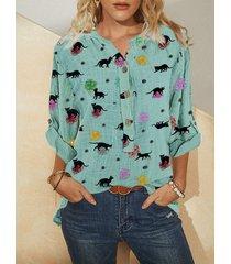 camicetta da donna con bottoni a maniche lunghe con scollo a v con stampa gatto dei cartoni animati