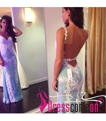 vintage mermaid prom dress,sexy spaghetti strap lace prom dress,party dress r326