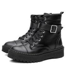 bota coturno flatform feminino tratorada leve macia conforto preto