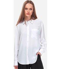 camisa blanca calvin klein drapey relaxed shirt ls