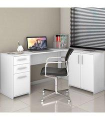 mesa para escritório 3 portas 2 gavetas nt 2005 branco new - notavel