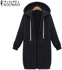 nueva llegada zanzea abrigos de invierno chaqueta mujer sudaderas con capucha largas abrigo casual cremallera prendas de abrigo sudaderas con capucha tallas grandes (negro) -negro