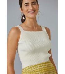 regata amaro tricot decote quadrado off-white - branco - feminino - dafiti