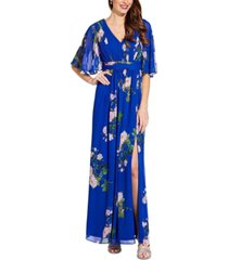 adrianna papell floral-print v-neck gown