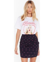 womens dot on our watch ruched mini skirt - black