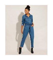macacão jeans com faixa para amarrar manga longa azul médio