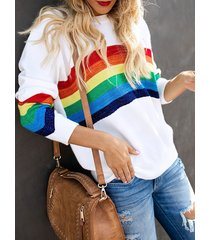 white stripe round neck sweatshirt