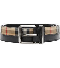 burberry logo print vintage check and leather belt - black