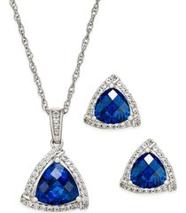 lab-created blue sapphire (3 ct. t.w.) and white sapphire (1/3 ct. t.w.) pendant necklace and matching stud earrings in sterling silver