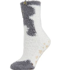 cute cat critter plush women's crew socks