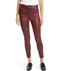 women's rag & bone nina high waist ankle skinny leather pants, size 29 - burgundy