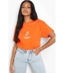 petite oversized katoenen believe t-shirt, orange