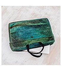 bamboo chenille and cotton laptop case, 'iridescent jade' (14 inch) (guatemala)