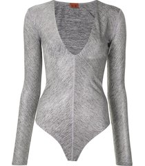 alix nyc irving metallic bodysuit - grey