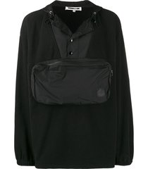 mcq swallow offspring pouch pocket hoodie - black