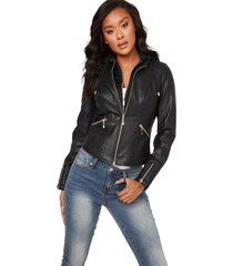 chaqueta g nelly hooded pu jacket negro guess