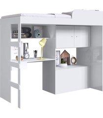 cama alta multifuncional c/ baú e estação de trabalho lion branco artinmóveis