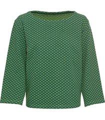 jacquard-shirt in pied-de-poule van bio-katoen met boothals, groen-motief 40/42