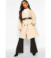 petite belted wool look trench coat, sand