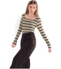 camiseta para mujer a rayas horizontal, multicolor, escote cuadrado, manga 3/4 color-multicolor-talla-xl