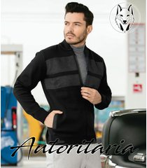 sweater chaqueta tejido hombre apliques gamuza autoritaria sa8 - negra