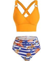 marine striped print lace up o ring tummy control tankini swimwear