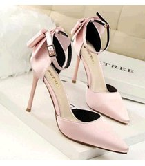 pp410 elegant pointy strappy ankle pump w big bowties end, us size 4-8.5, pink