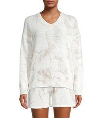 allison new york women's tie-dyed v-neck sweater - ivory - size m